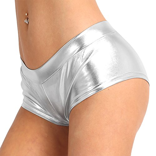 c51669f7a Agoky Women s Faux Leather Satin Boyshorts Panties High Waisted Booty  Shorts Mini Pants Clubwear Underwear Silver