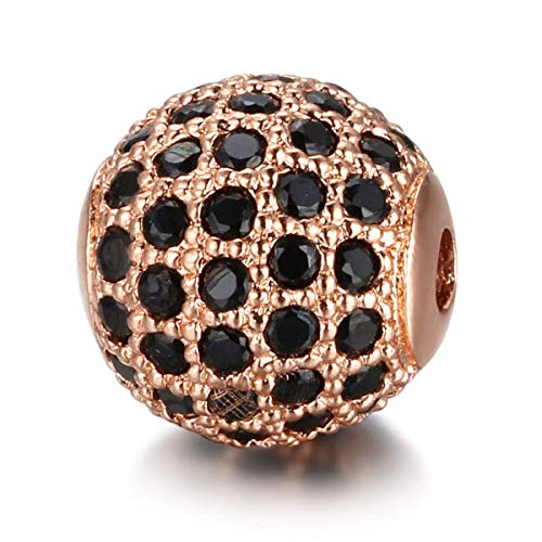 10pcs/lot Round Ball CZ Beads 8mm DIY Metal Bead Brass Micro Pave Cubic Zirconia Spacer Bead Charms Wholesale VNISTAR (black cz rose gold ()