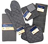 Kitchen Towel Set with 2 Quilted Pot Holders, Oven Mitt, Dish Towel, Dish Drying Mat, 2 Microfiber Scrubbing Dishcloths (Gray)