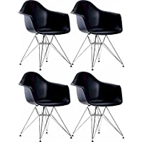 Mod Made Mid Century Modern Paris Tower Dining Arm Chair Chrome Leg, Black, Set of 4