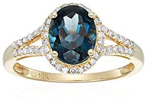 10k Yellow Gold London Blue Topaz and Diamond Oval Halo Engagement Ring (1/5cttw, H-I Color, I1-I2 Clarity), Size 7