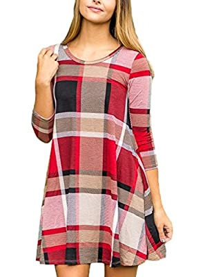 LOSRLY Women Round Neck Long Sleeve Checkered Plaid Swing Tunic T Shirt Mini Dress