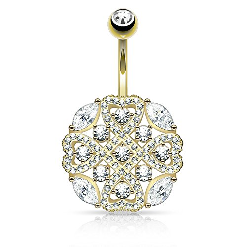 Paved CZ Tribal Heart Shield Belly Button Ring Marquise CZ Navel Ring ()