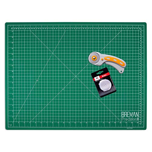 WA Portman Rotary Cutter Set - 45mm Rotary Fabric Cutter with 5 Extra Cutter Blades and 18x24 Inch Self Healing Cutting Mat Set - Great for Crafting Sewing Quilting Scrapbooking Enthusiasts