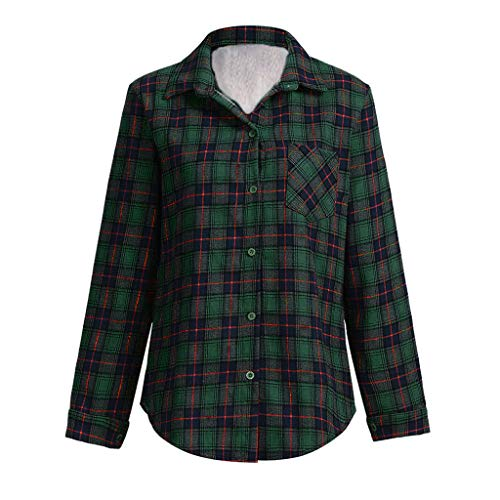 Lined Long Sleeve Blouse - WBGZD Womens Plaid Coat Flannel Warm Winter Long Sleeve Button Lined Shirts Jackets
