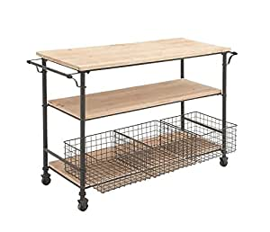 Deco 79 Metal Wood Cart with Basket, 48 by 32-Inch