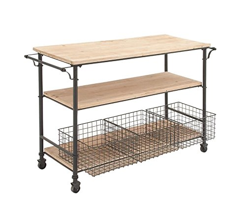 "48 Sideboard (Deco 79 50203 Industrial Metal & Wood Table Rolling Cart with Drawer Baskets, 48"" x 32"")"