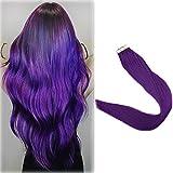 Full Shine 18' Popular Multi-Colors Purple Color Tape in Premium Remy Human Hair Extensions 10 Pcs Per Set 25g Weight Straight Human Hair Tape Hair Extensions
