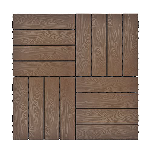 Set of 12 Interlocking Flooring Deck Tiles in Coffee, Indoor Outdoor Deck and Patio Flooring Wood-plastic Material Composite Tile, 12 x 12 Inch (Outdoor Patio Brick Flooring)