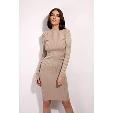 271381a75c elegant Women Ladies Round Neck Long Sleeve Slim Fit Ribbed Knit Sweater  Dress Super Soft Winter