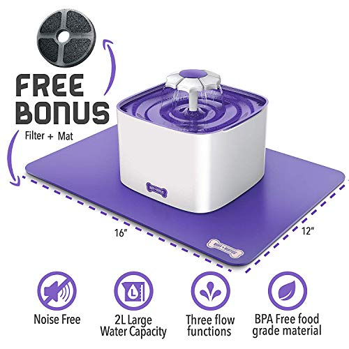 Ruff 'n Ruffus Cat Drinking Water Fountain with FREE Filter & FREE Silicone Mat | Automatic Watering...