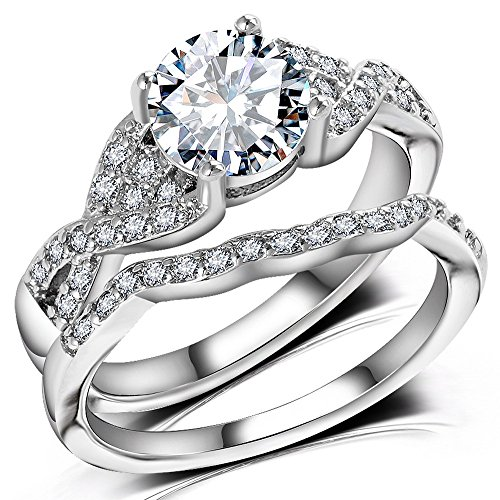 Diamond Cut Infinity Band Rings - Round Radiant Cubic Zirconia Women Wedding Band Ring Set Size 6-9 (11) by Hiyong (Image #3)