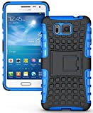 Heartly Flip Kick Stand Spider Hard Dual Rugged Armor Hybrid Bumper Back Case Cover For Samsung Galaxy Alpha 4G SM-G850FQ - Power Blue