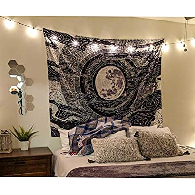 LHHZ-U Moon and Star Tapestry Wall Hanging Tapestries Wall Blanket Wall Art for Living Room Bedroom Home Decor