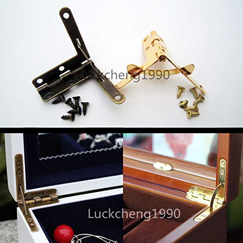 12X Jewelry Gift Wine Case Watch Box Wood Lid L 90° Support Spring Hinge Display