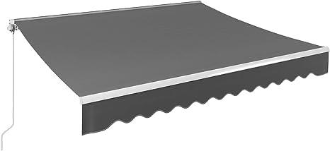 MVPower Tenda da Sole per Cortile Tenda da Sole a Caduta con Bracci Tendalino a Scomparsa Resistente ai Raggi UV e Impermeabile Blu 300 x 250cm Realizzato in Metallo e Poliestere Ristorante
