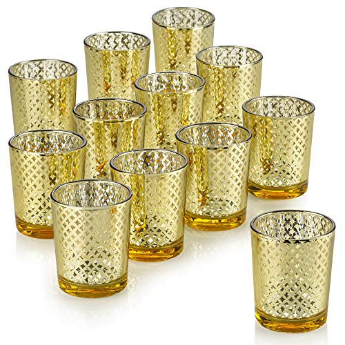 PARNOO Mercury Glass Candle Holders for Votive Candles and Tealights Set of 12 - Lattice Gold Finish Perfect for Wedding and Home ()