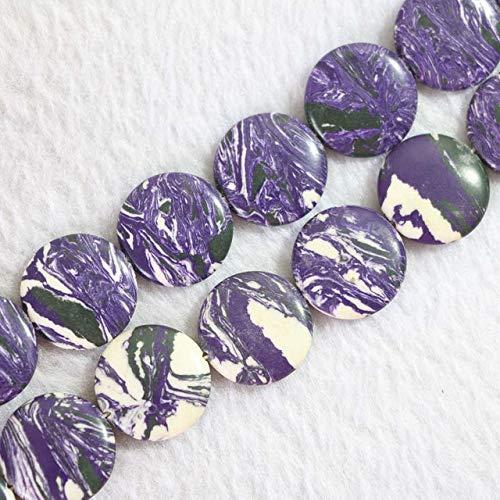 Calvas HOT Purple Calaite Stone turquoises 12mm 14mm 16mm 20mm Coin Shape Loose Beads DIY Jewelry 15