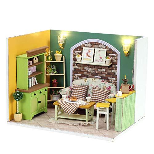 YXXHM- Dollhouse DIY Casas Muebles Verde Té De La Tarde Juego De Regalos De Madera para Niños Juguetes Educativos 17 * 13 *...