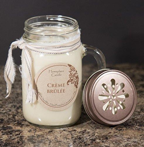 Homeplace Candle - 16 oz. 100% Soy Candle - LG Mason Jar Mug - Creme Brulee