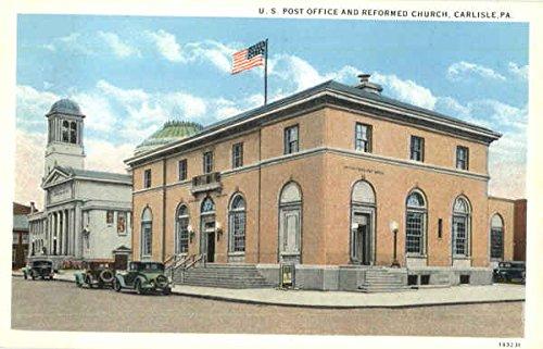 U. S. Post Office And Reformed Church Carlisle, Pennsylvania Original Vintage Postcard