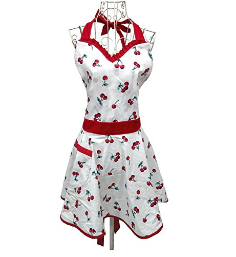 Lady Lovely Princess White Aprons Sweetheart Cotton Apron with Pocket for Woman Cooking Kitchen Sweetheart Pocket