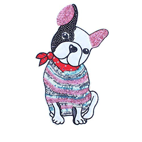 - DIY Iron on Clothes Patch,Applique Glitter Sequin Dog Patches for T-Shirt Jeans Skirt Vests Scarf Hat Bag Decor