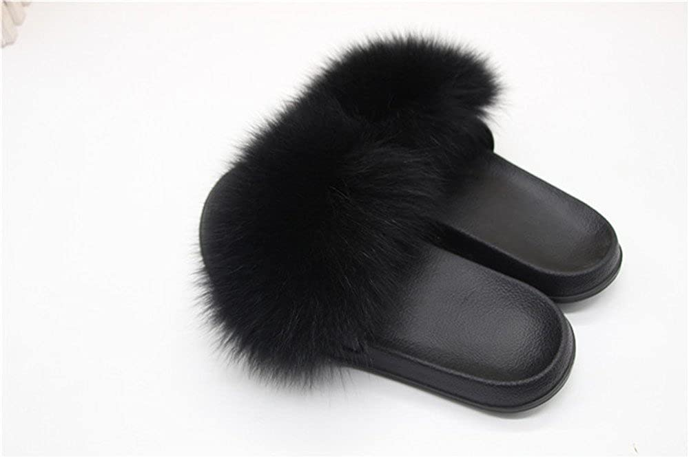 aecff3aede0 Amazon.com  Manka Vesa Women Spring Summer Real Fox Fur Feather Vegan  Leather Open Toe Single Strap Slip On Sandals  Clothing
