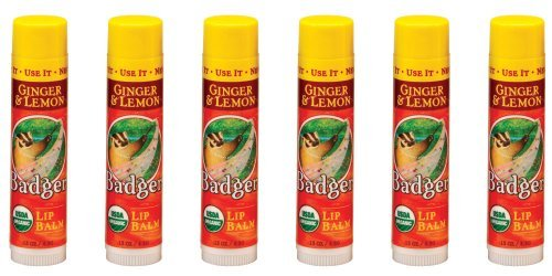 Badger Classic Lip Balm Stick - 6-Pack - Ginger & Lemon