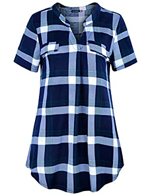 Le Vonfort Women's Plaid Notch V Neck Short Sleeve Casual Shirt Tunic Blouse Top