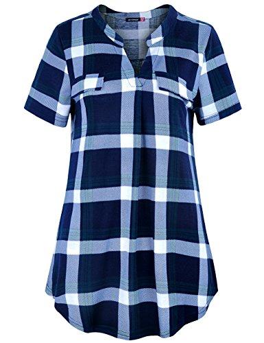 Le Vonfort Womens Plaid Notch V Neck Short/Long Sleeve Casual Shirt Tunic Blouse Top