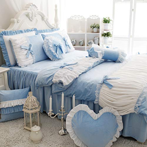 FADFAY Cute Girls Short Plush Bedding Set Romantic White Ruffle Duvet Cover Sets 4-Piece,Blue Twin (Bedding Blue Ruffle)