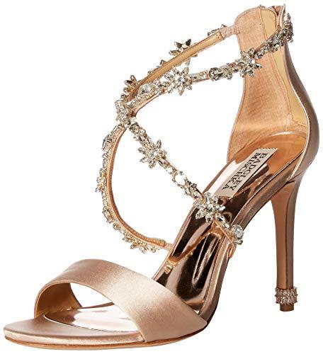 Badgley Mischka Women's Venus Heeled Sandal, Latte Satin, 7 M US