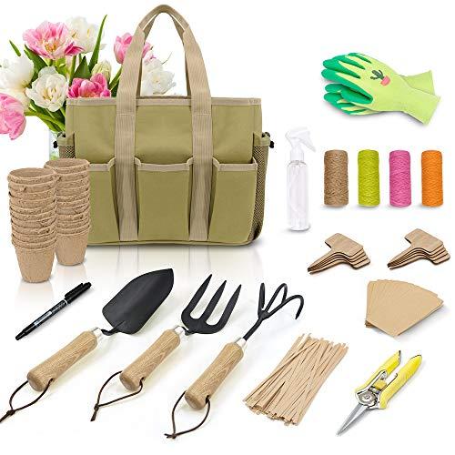 Colwelt Garden Tools Set - Heavy Duty Gardening Tool Set for Women with Wooden Handle, Include Gardening Bag, Hand Rake…