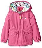 London Fog Little Girls' Fleece Lined Midweight Jacket with Rouched Waist, Phlox Pink, 6X