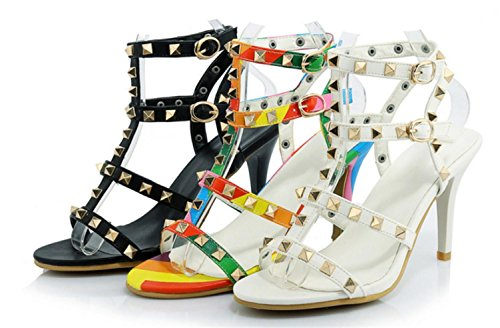 Buckle High Women 35 Shoes Party Lh Heel Fashion Sandals High Quality Banquet with yu Sandals Rivet Fine White qzgwtg