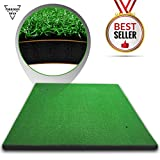 Forbidden Road Golf Practice Hitting Grass Mat (5ft x 3ft) With 2 Golf Tee Holes Rough Indoor Backyard Golf Pad Residential Golf Hitting Mat for Golf Swing Practice Training Putter Balls