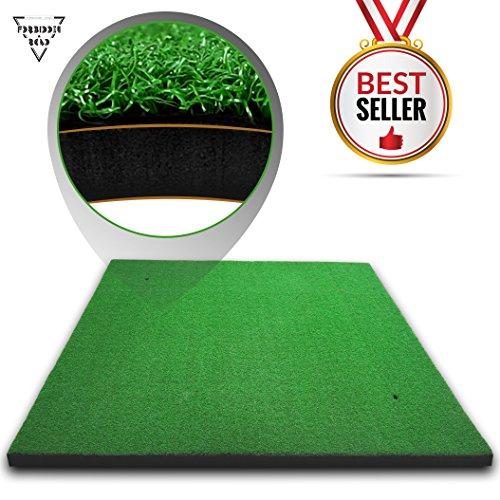 Forbidden Road Golf Practice Hitting Grass Mat (5ft x 3ft) With 2 Golf Tee Holes Rough Indoor Backyard Golf Pad ResidentialGolf Hitting Mat for Golf Swing Practice Training Putter Balls