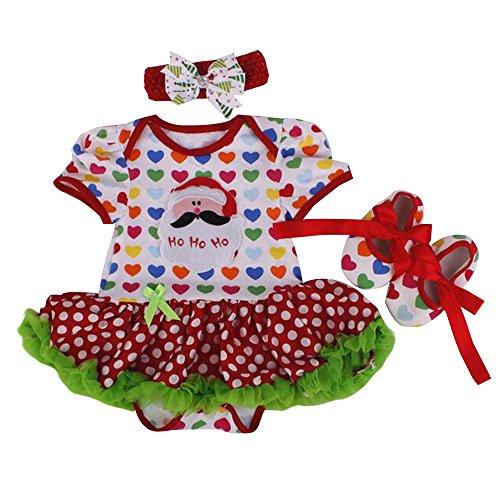 Bozevon Tutu Chaussures Gamins Fête Noël bandeau A Princesse Combinaison Style Bébé An Costume Jupe Jupe Robe Barboteuse Fille Nouvel Fantaisie Vêtement rr4EwT