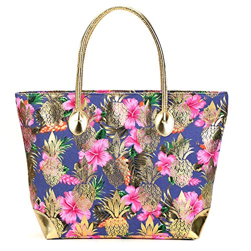 Women Large Beach Bag Metal Gold Pineapple Printed Canvas Tote Shoulder Bag With Leather Handle Travel Tote (FlowerΠneapple)