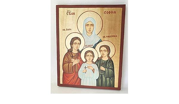 Icono Ortodoxo Santa Sofía y sus tres hijas la fe esperanza y amor
