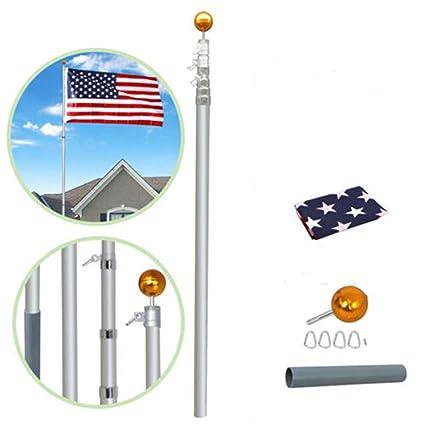 Heavy Duty 16 Gauge Aluminum US Telescoping Flagpole Kit Fly