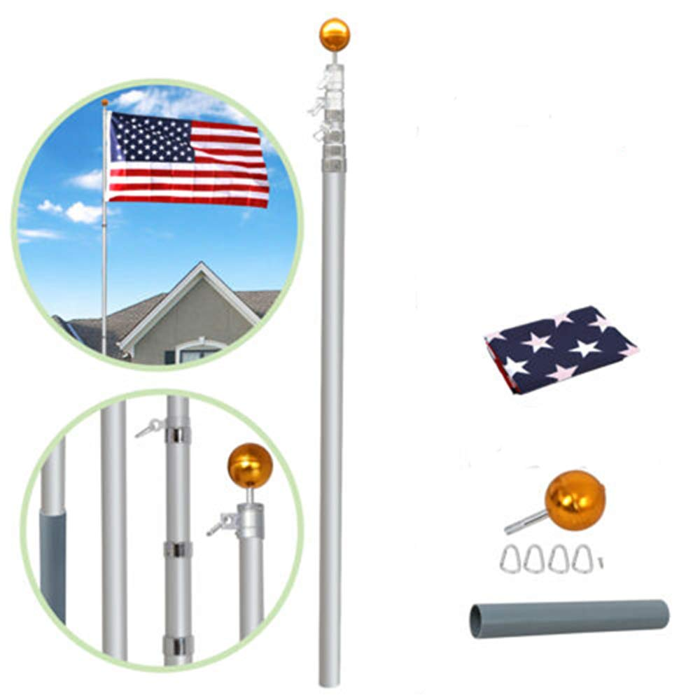 Supole Extra Thick 20FT Telescoping Flag Poles kit Can Fly 2 Flags, Heavy Duty Aluminum Flagpole with 3'x5' US American Polyester Flag & Golden Ball for Outdoor Commercial or Residential, Silver