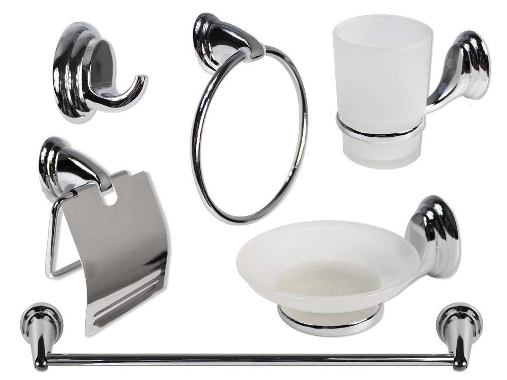Vetrineinrete/® Set Bagno Moderno in Acciaio Cromato e Vetro Satinato Opaco 6 Pezzi Accessori arredo Bagno 3100-N P34