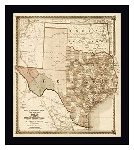 County Map of Texas, and Indian Territory, 1874 - Decorative Sepia by H.H. Lloyd and Company - 24