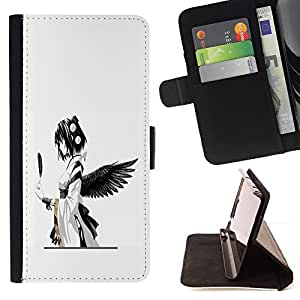 For LG G Stylo / LG LS770 / LG G4 Stylus cool anime angel black feather girl Japanese Style PU Leather Case Wallet Flip Stand Flap Closure Cover
