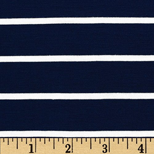 (TELIO Stretch Bamboo Rayon Jersey Knit Mariner Stripe Midnight Blue Fabric by The)