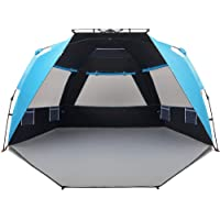 Easthills Outdoors Instant Shader Dark Shelter Deluxe XL Easy Up 4 Person Beach Tent Sun Shelter UPF 50+ with Extended…