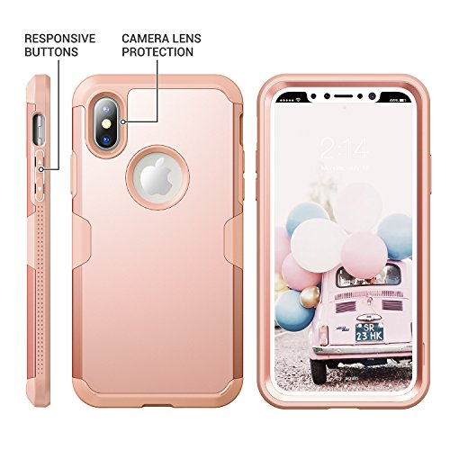 low priced 97b00 946ca iPhone X Case, YOUMAKER Rose Gold Full Body Heavy Duty - Import It All
