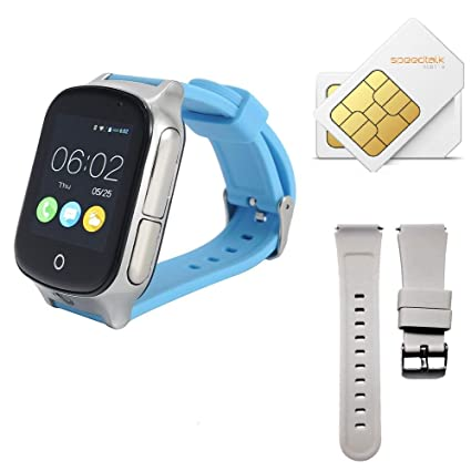 (Give SIM Card and Strap) 3G GPS Smart Watch Phone for Kids Elderly, KKBear Real-time Tracking, Geo-Fence Touch Screen Camera SOS Alarm Anti-Lost GPS ...
